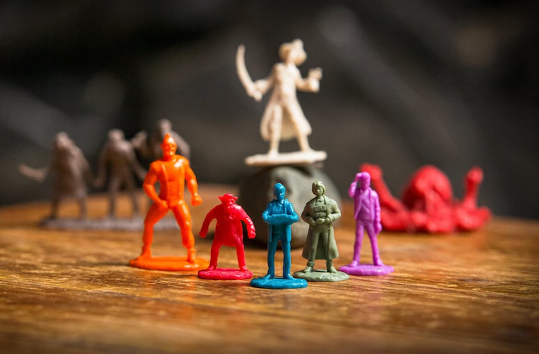 Close up of the character figurines, which are the player pieces