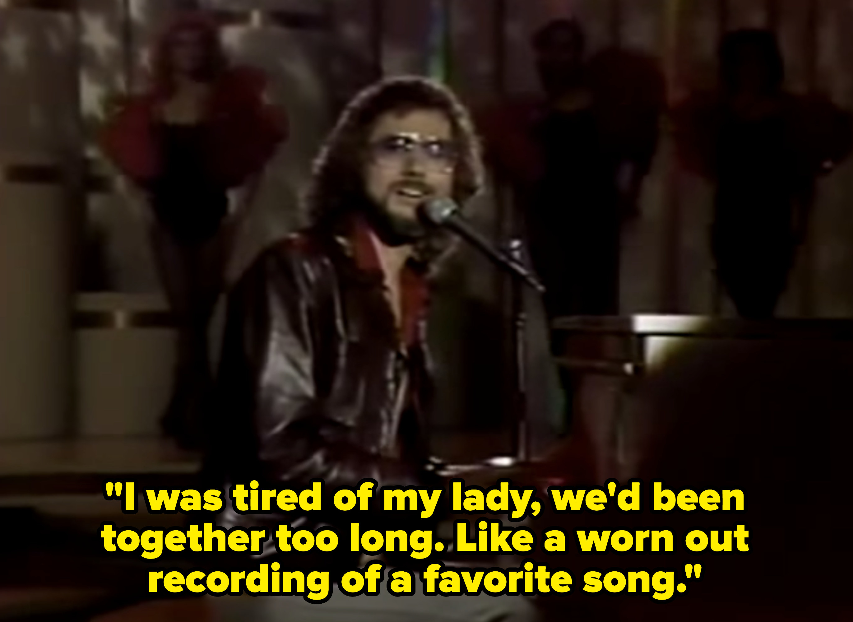 """Rupert Holmes singing """"I was tired of my lady, we'd been together too long. Like a worn out recording of a favorite song."""""""