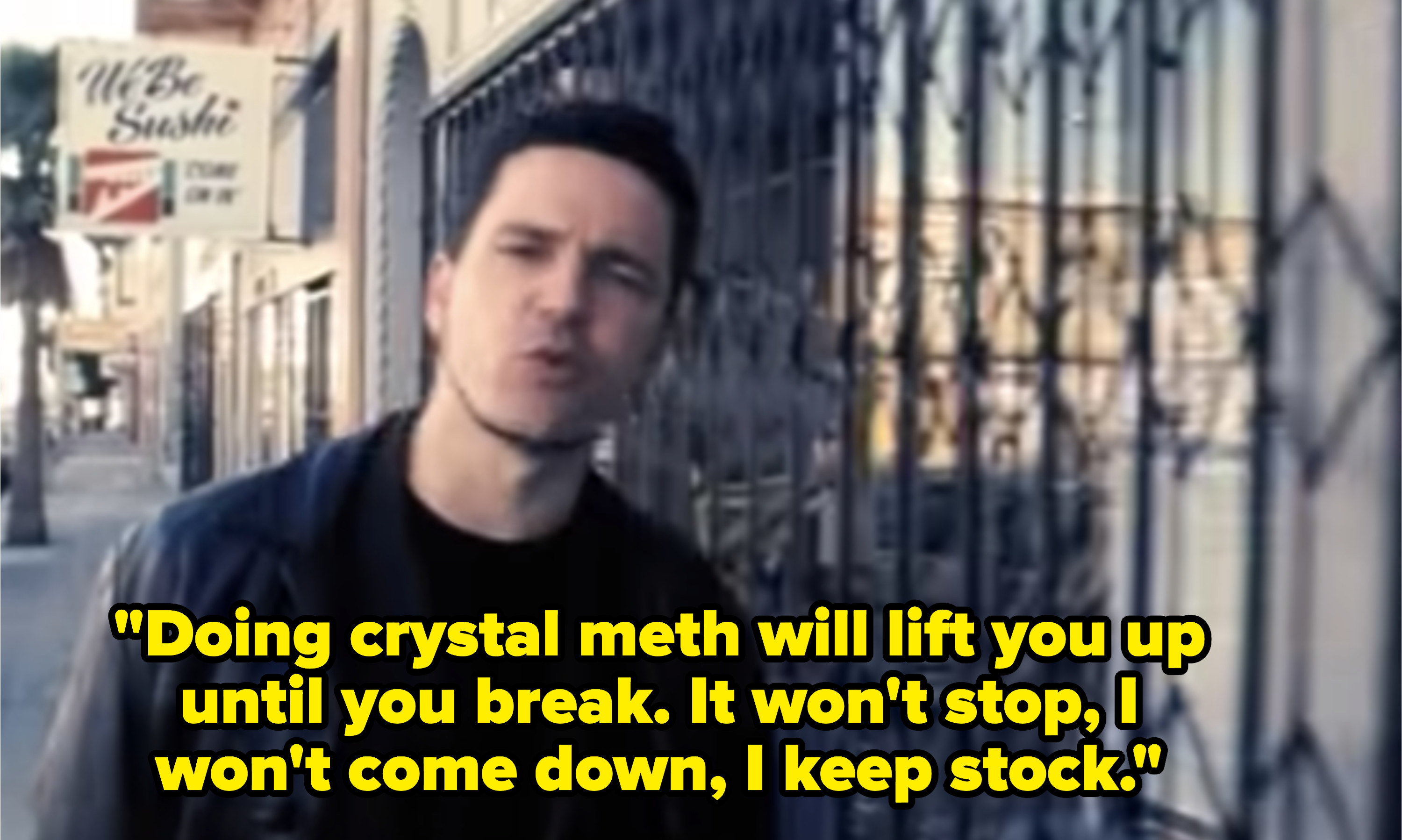 """""""Semi-Charmed Life"""" music video with lyrics, """"Doing crystal meth will lift you up until you break. It won't stop, I won't come down, I keep stock"""""""