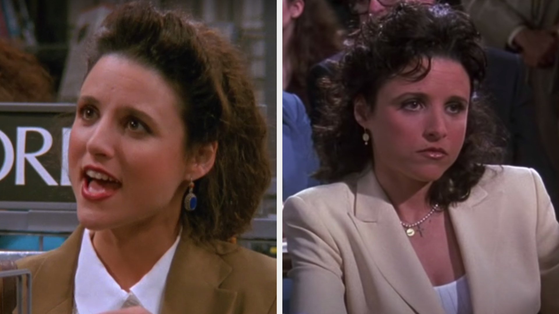 "Julia Louis-Dreyfus in the Season 1, second episode of ""Seinfeld"" vs. the last episode"