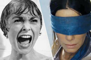 The famous psycho scream next to sandra bullock in bird box with her eyes covered