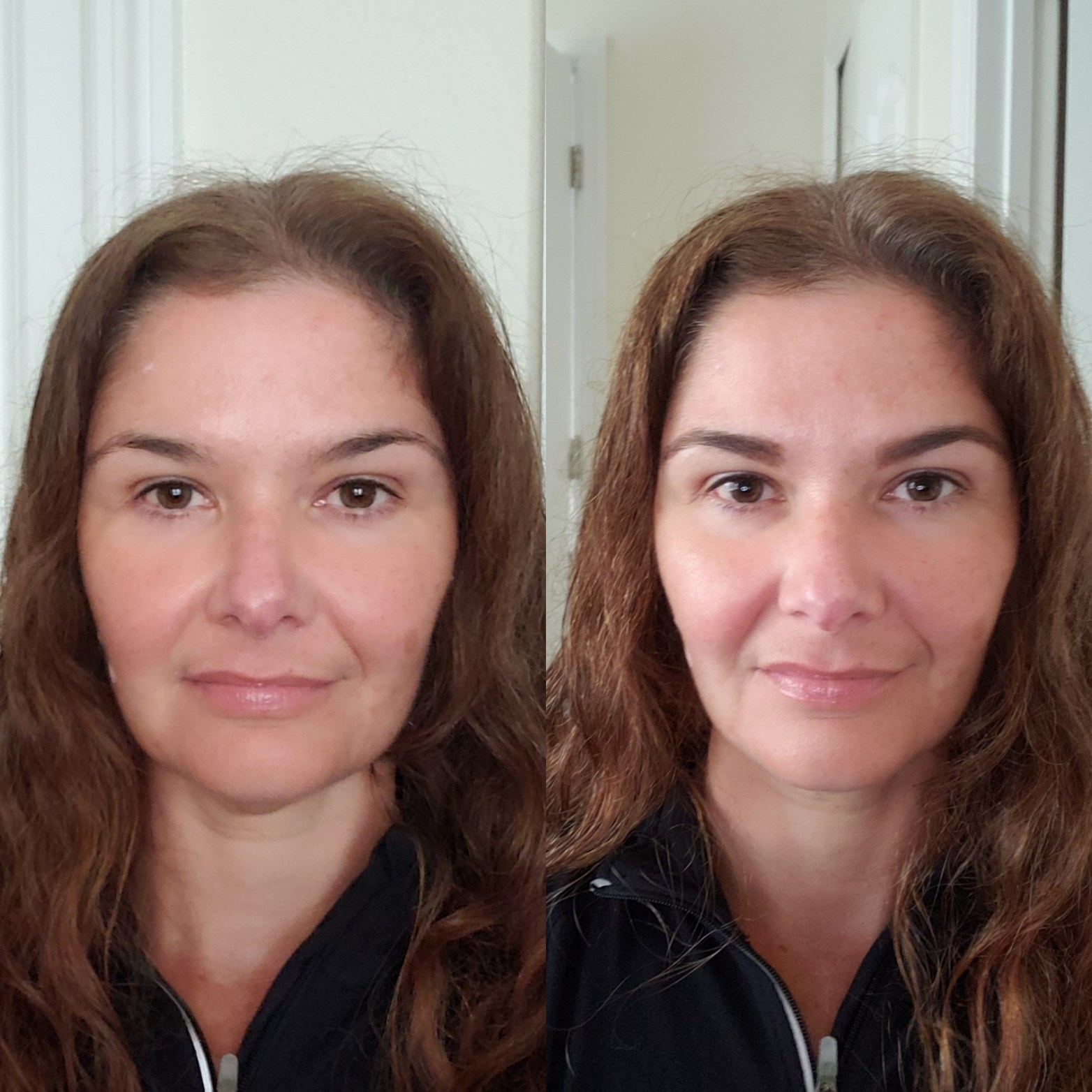 reviewer before and after with filled, shapely brows after using the gel