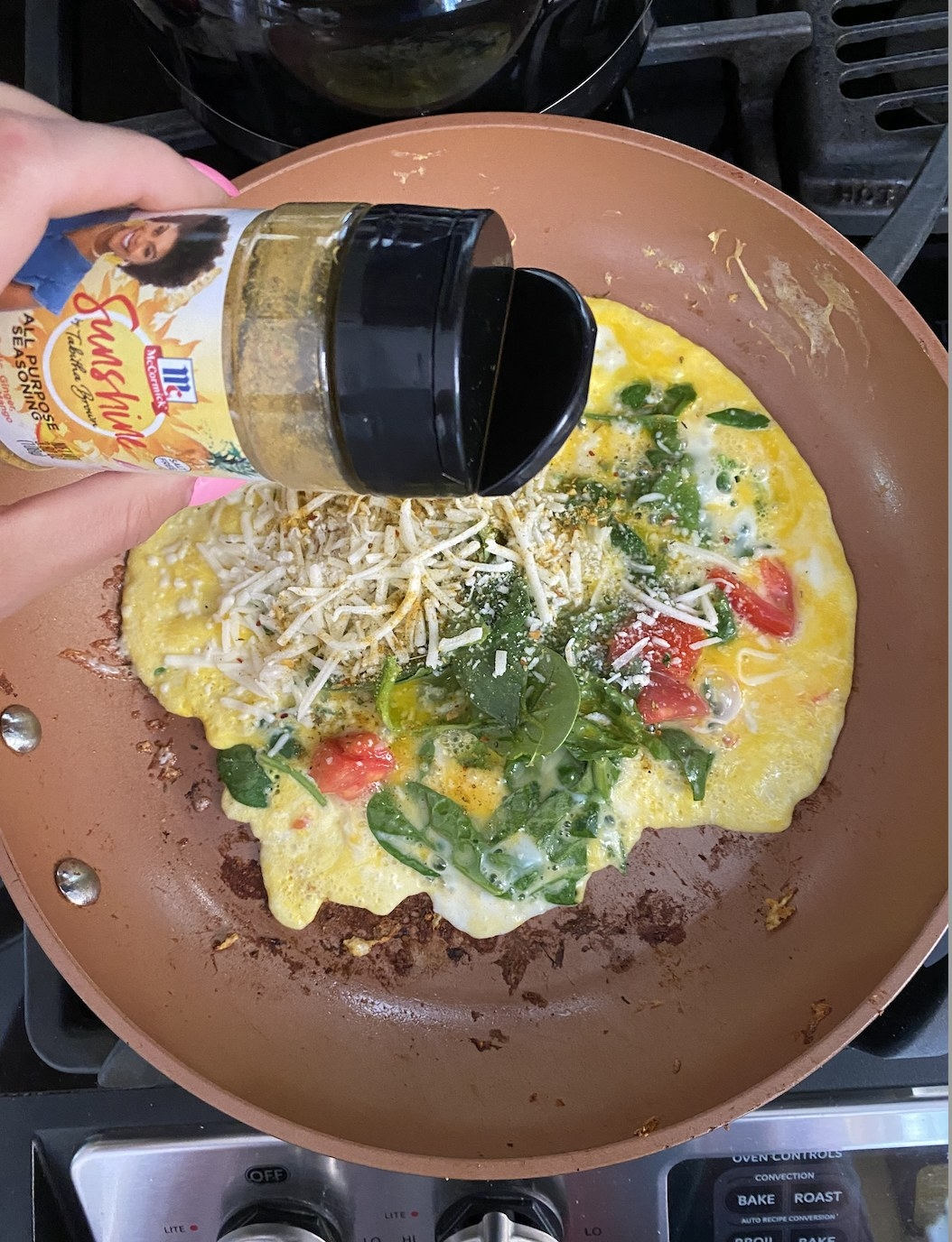 The author cooking an omelet