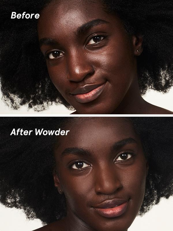 model with before wowder and after wowder with less shine