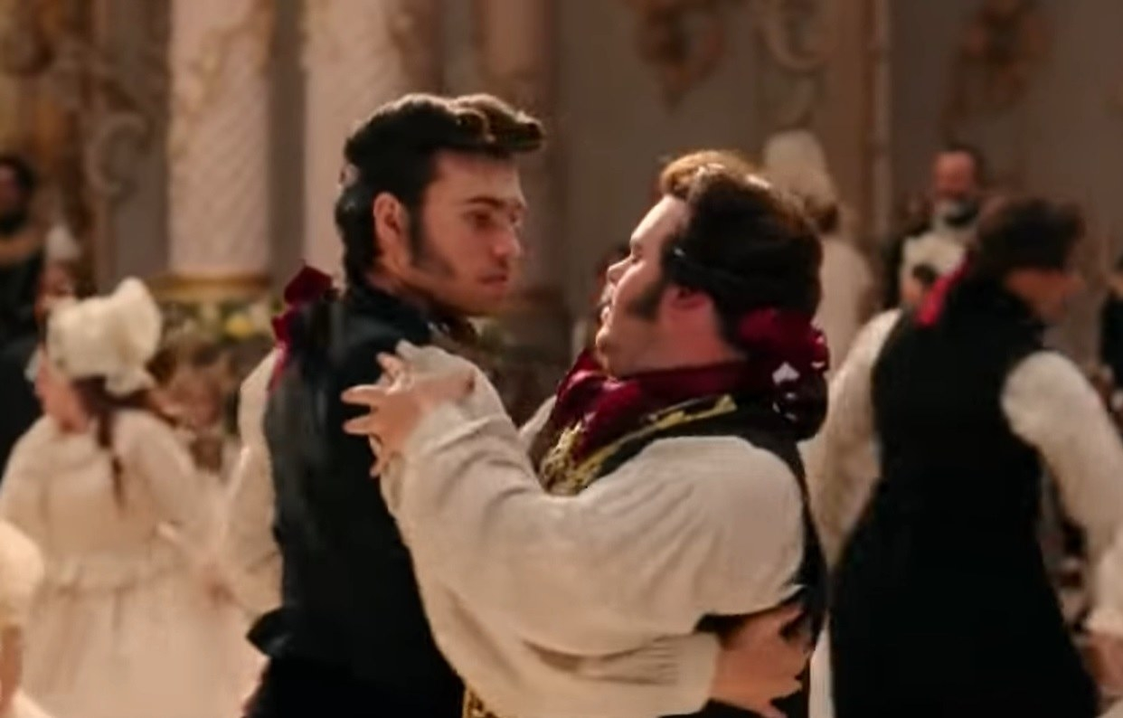 LeFou and Stanley dance together in Beauty and the Beast