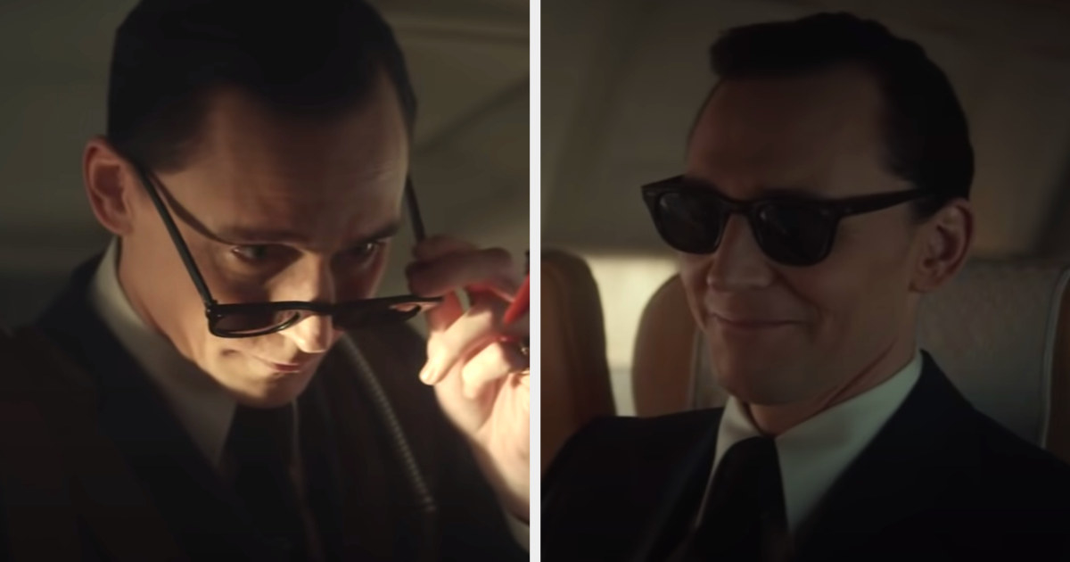 Loki dressed and styled like DB cooper in the 70s