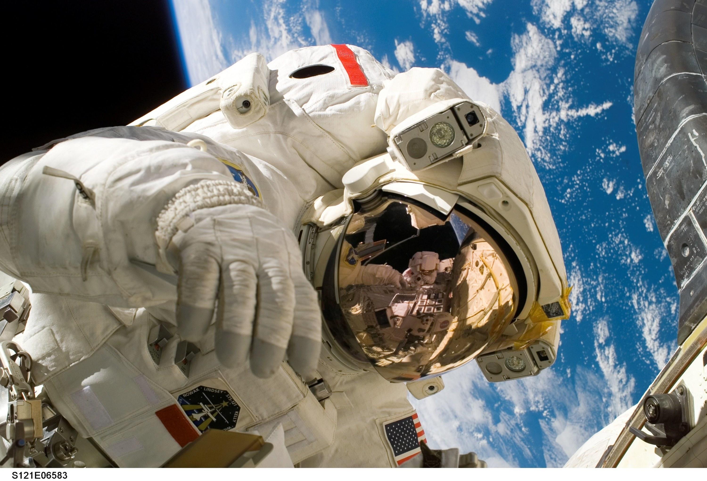 An astronaut on a space walk