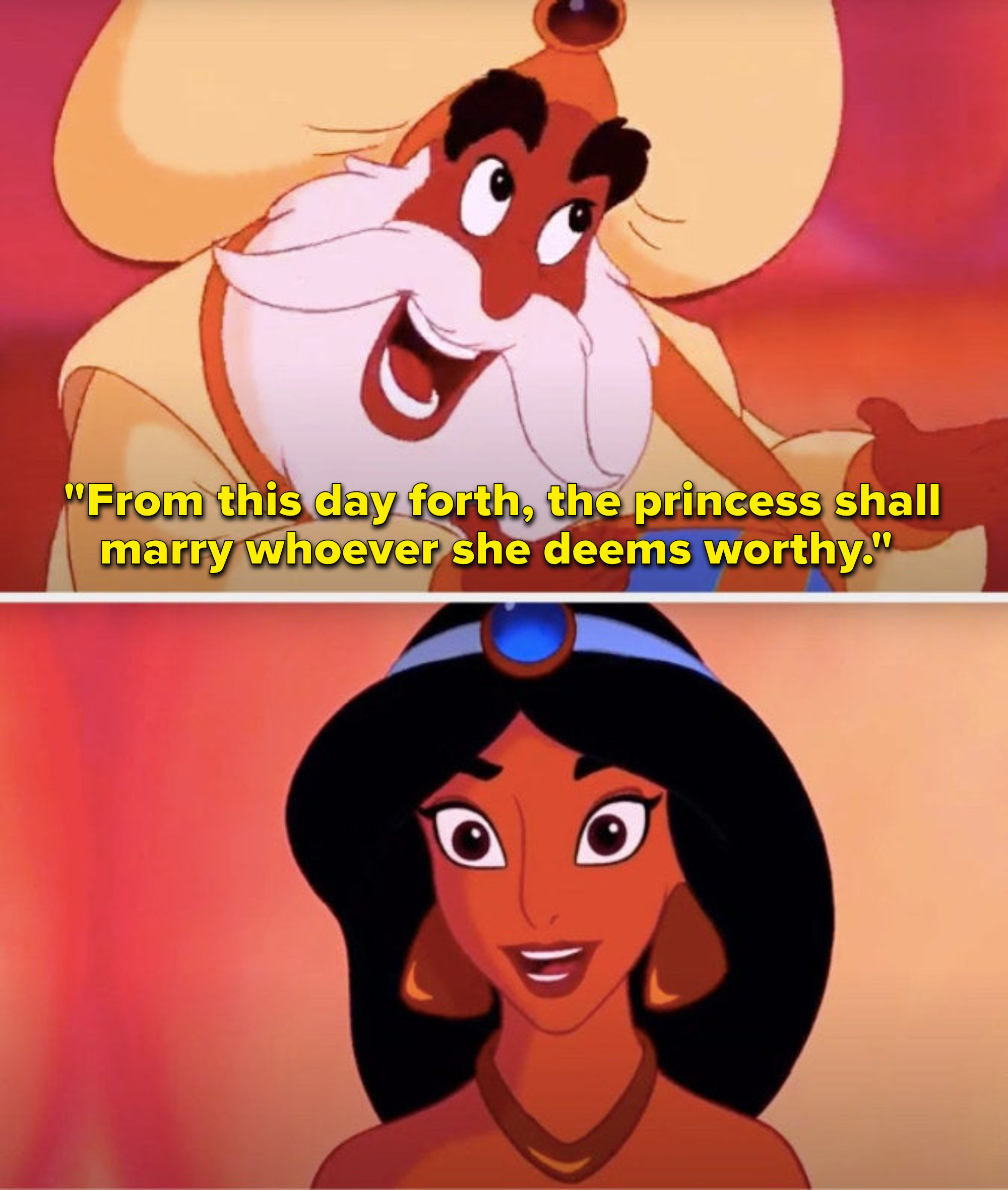 """The Sultan says, """"From this day forth, the princess shall marry whoever she deems worthy,"""" and Jasmine beams"""
