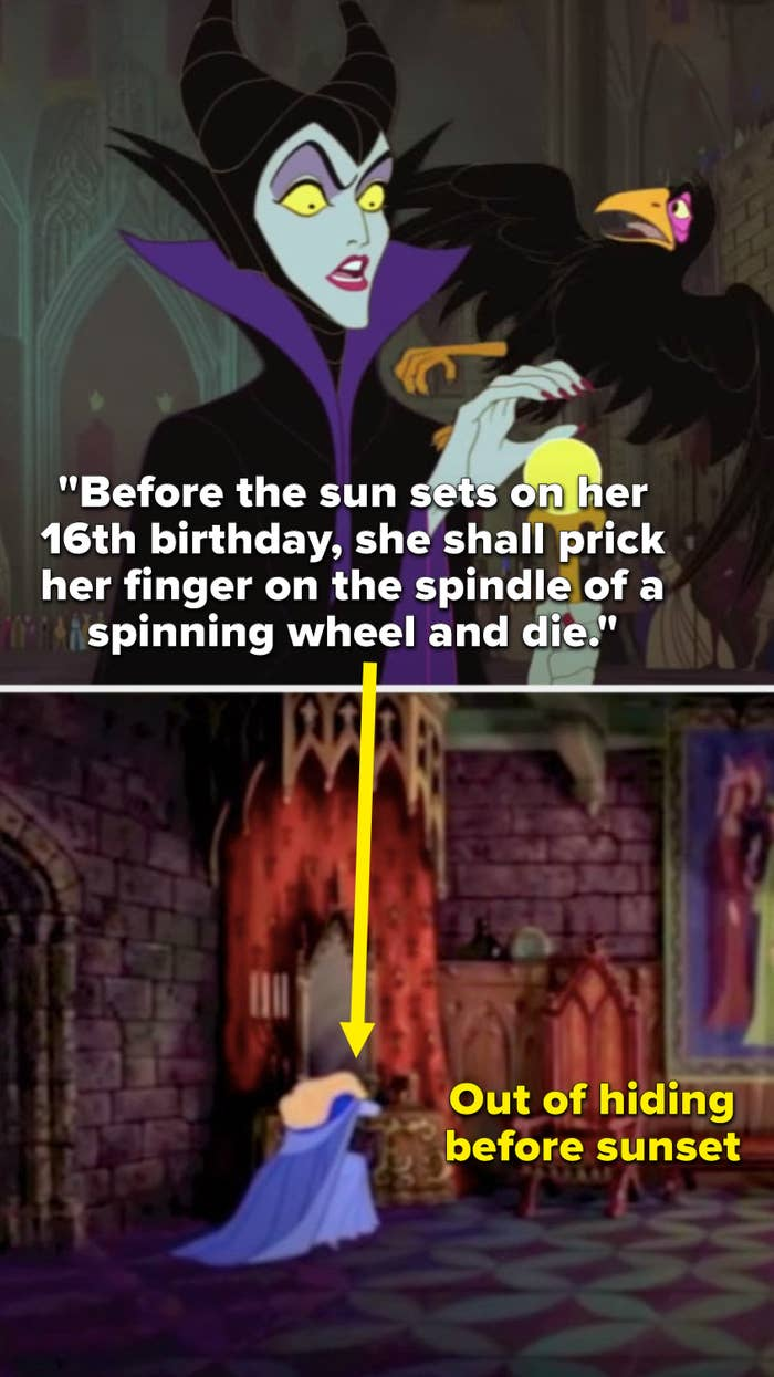"""Maleficent says, """"Before the sun sets on her 16th birthday, she shall prick her finger on the spindle of a spinning wheel and die,"""" But Aurora is back home alone on her sixteenth birthday"""