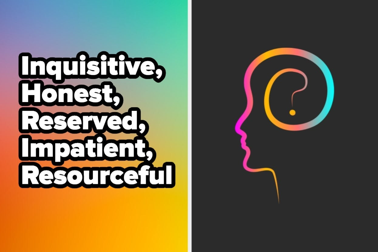 """Words """"Inquisitive, honest, reserved, impatient, resourceful"""" with face outline"""