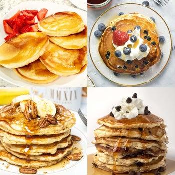 pancakes prepared four different ways