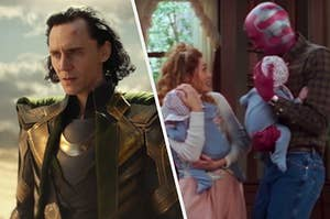 Loki looks out into the distance of the desert he landed in and Wanda Maximoff and Vision cradled their newborn twin sons to their chests.