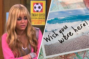 """Hannah Montana stands with her arms crossed against her chest and a postcard with the saying, """"Wish you were here!"""" written on it."""