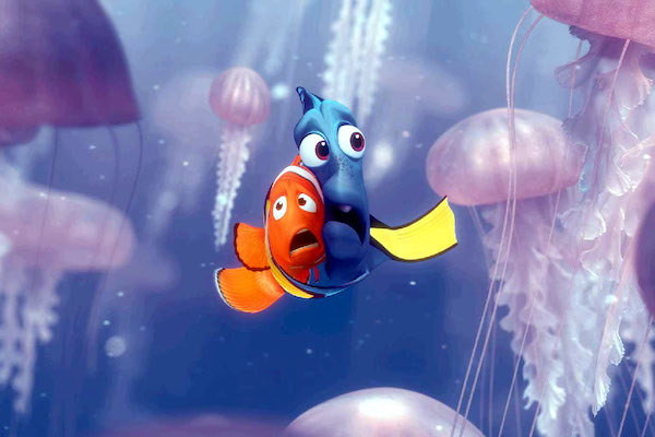 Marlin and Dory are are terrified and surrounded by jellyfish.
