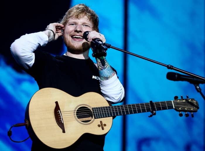 British singer-songwriter Ed Sheeran is giving a concert at Otkritie Arena in Moscow, Russia during his world tour