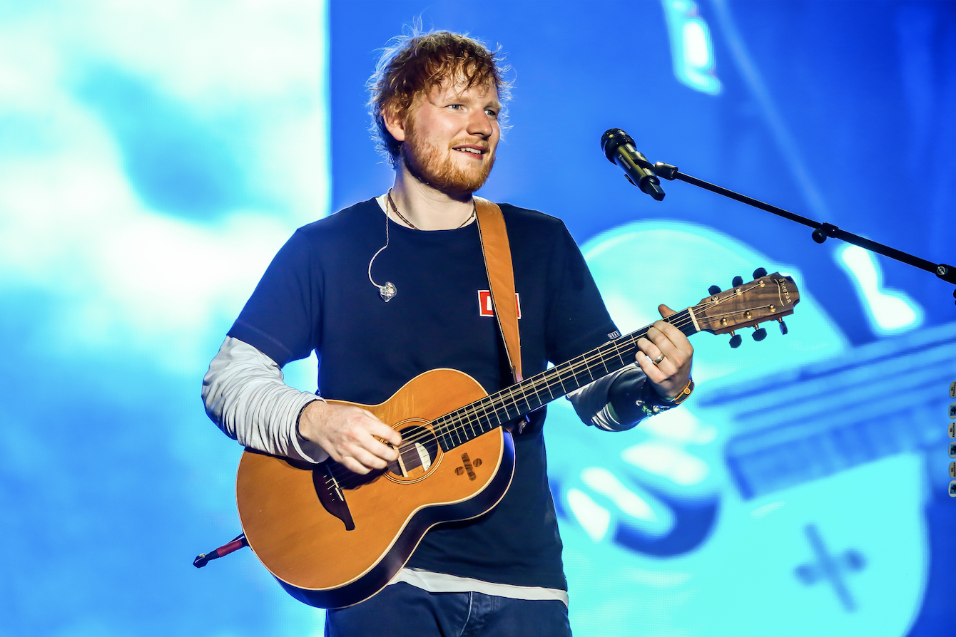 Ed Sheeran, English singer, songwriter, guitarist, record producer, and actor, performs during the first day of Sziget Festival in Budapest