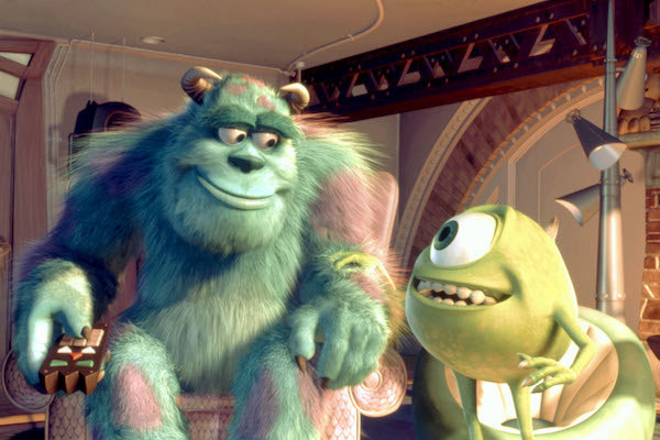 Sulley and Mike watching TV.