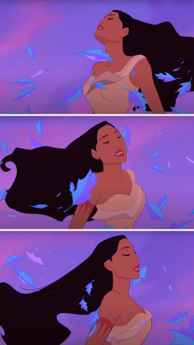 Pocahontas's hair is blowing a lot in the wind, but it remains perfect