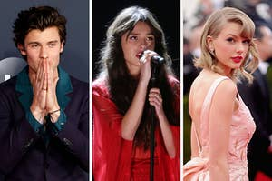 On the left, Shawn Mendes, in the middle, Olivia Rodrigo, and on the right, Taylor Swift