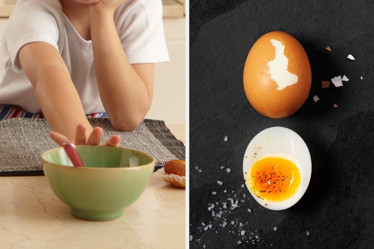 Kid pushing bowl away and soft boiled egg
