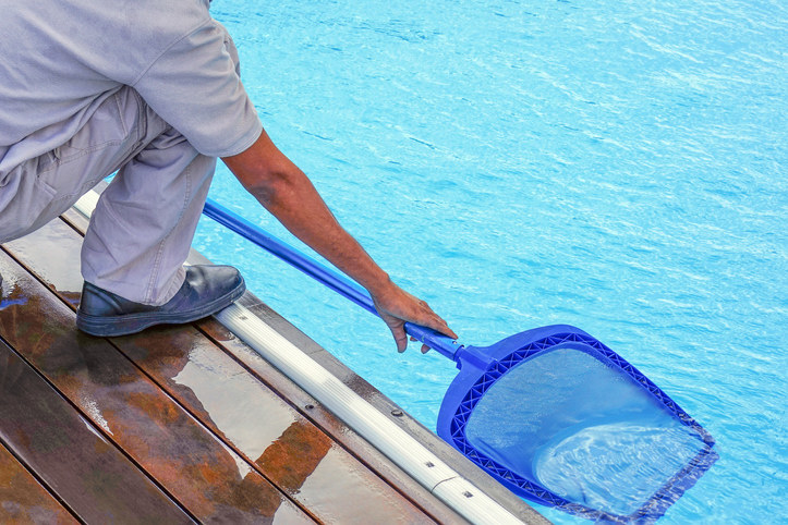 Someone uses a scoop to clean a pool