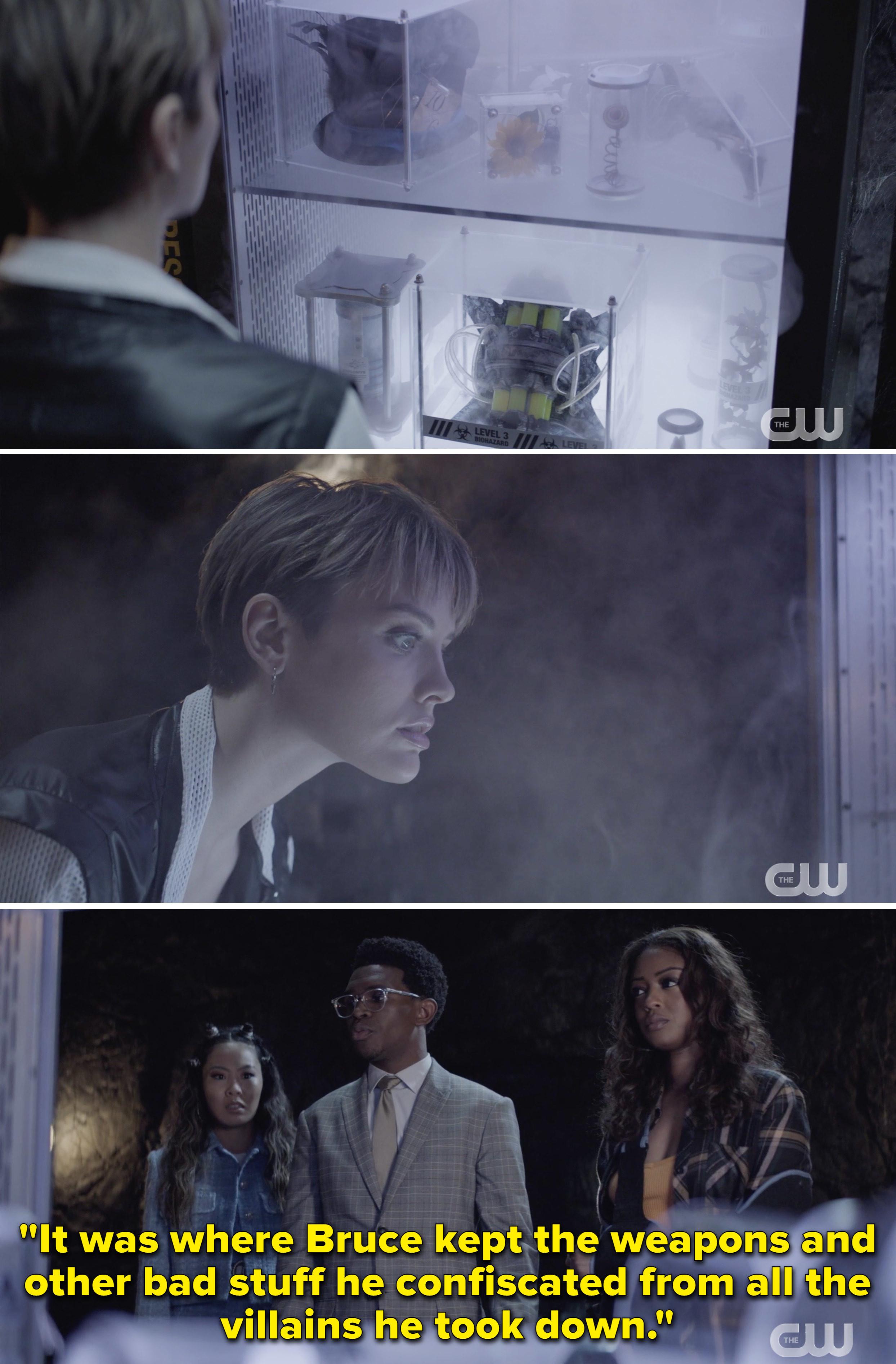 Luke explaining that Circe took weapons Bruce kept from villains he took down