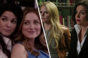 Jane Rizzoli holds Maura Isles from behind while Emma Swan stands with her hands on her hips and Regina Mills has both eyebrows arched.