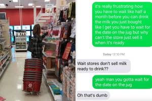 A customer pulling the whole stack shopping of carts with her while shopping and a text from someone saying that the