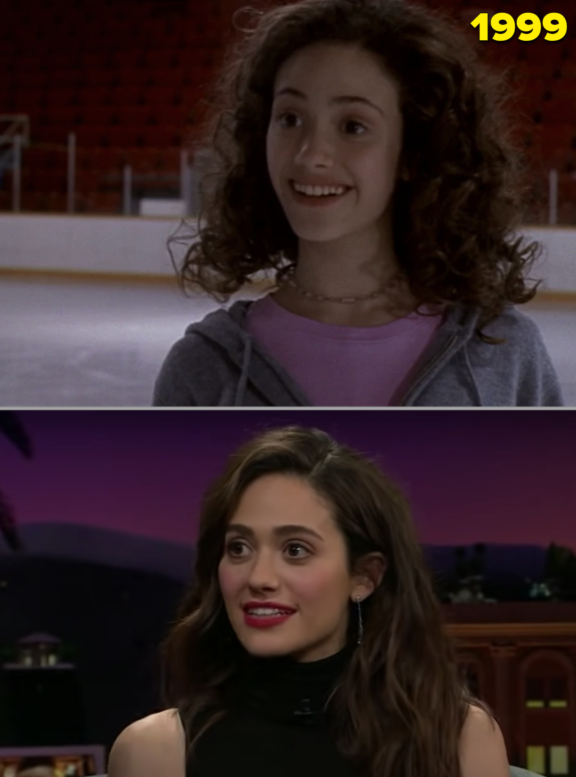 """Emmy in """"Genius"""" in the late '90s vs. her as an adult in a talk show"""