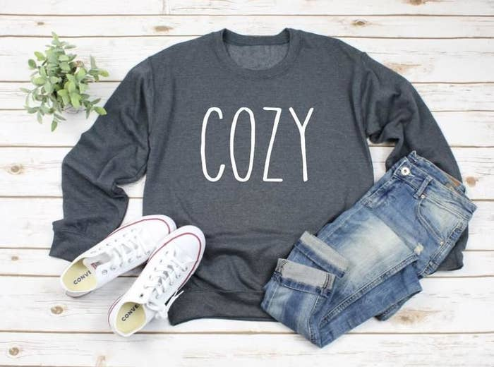 """long sleeve gray sweatshirt that says """"cozy"""" in all white caps because mood"""