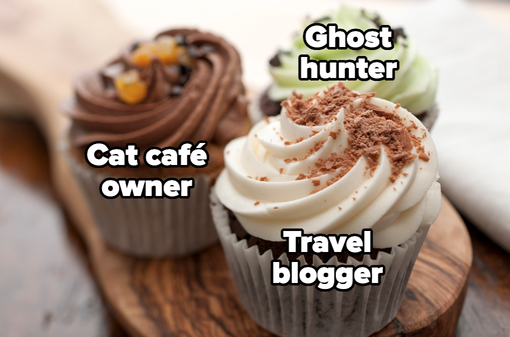 """Cupcakes with the words """"cat café owner, travel blogger, and ghost hunter"""""""