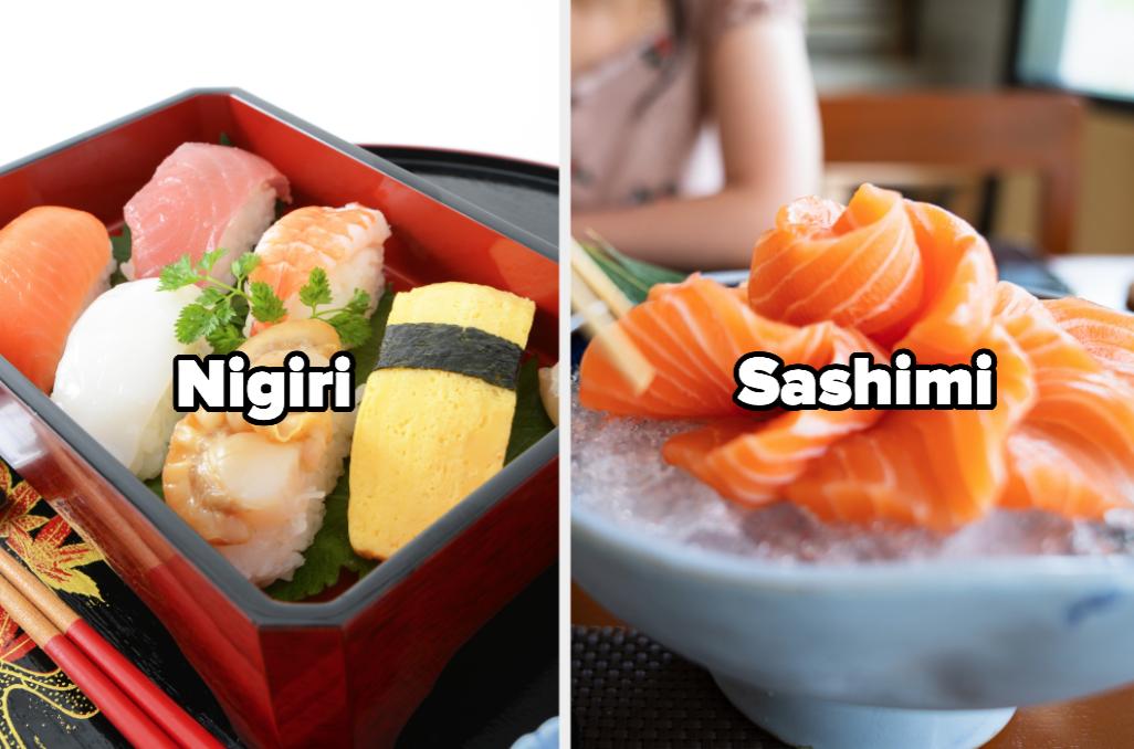 Nigiri and sashimi sushi