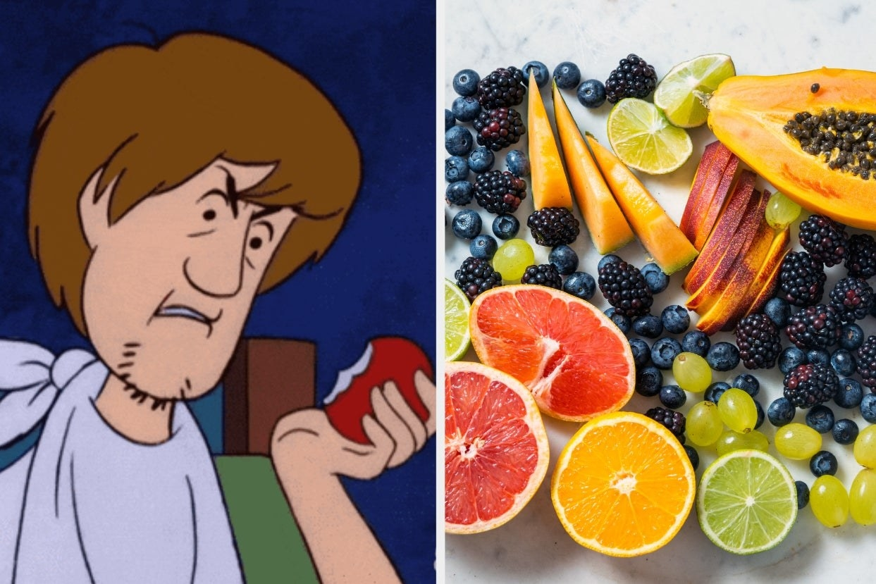 """Shaggy eating fruit in """"Scooby-Doo"""" and fruit plates"""