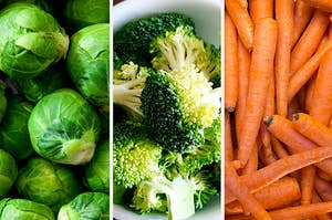 Brussel sprouts, broccoli, and carrots