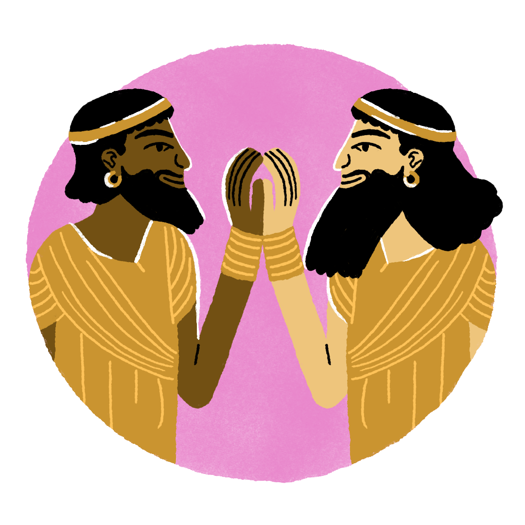 Two male figures in ancient clothing, touching hands against a colorful backdrop