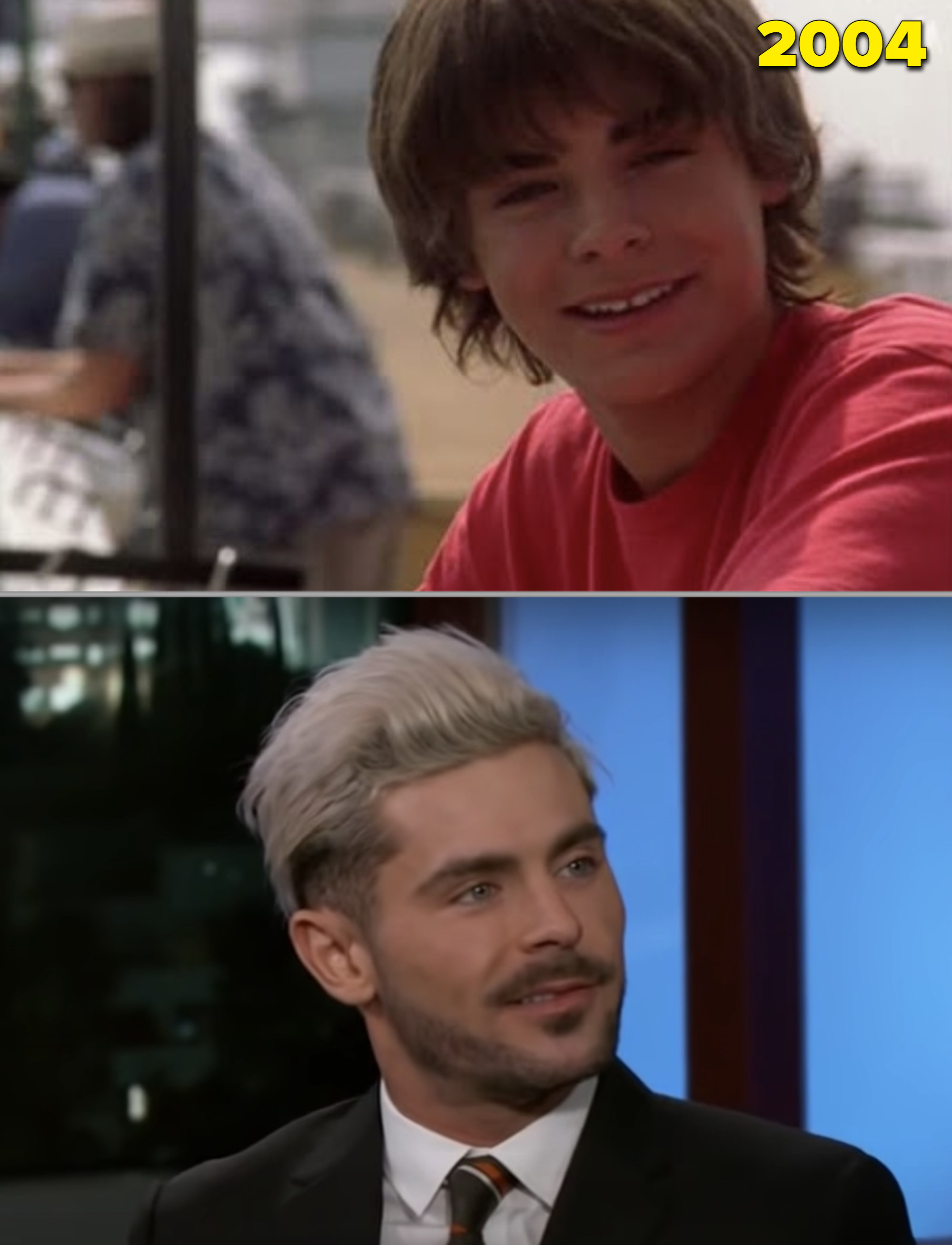 Zac Efron as a young teen vs. him being interviewed in 2019