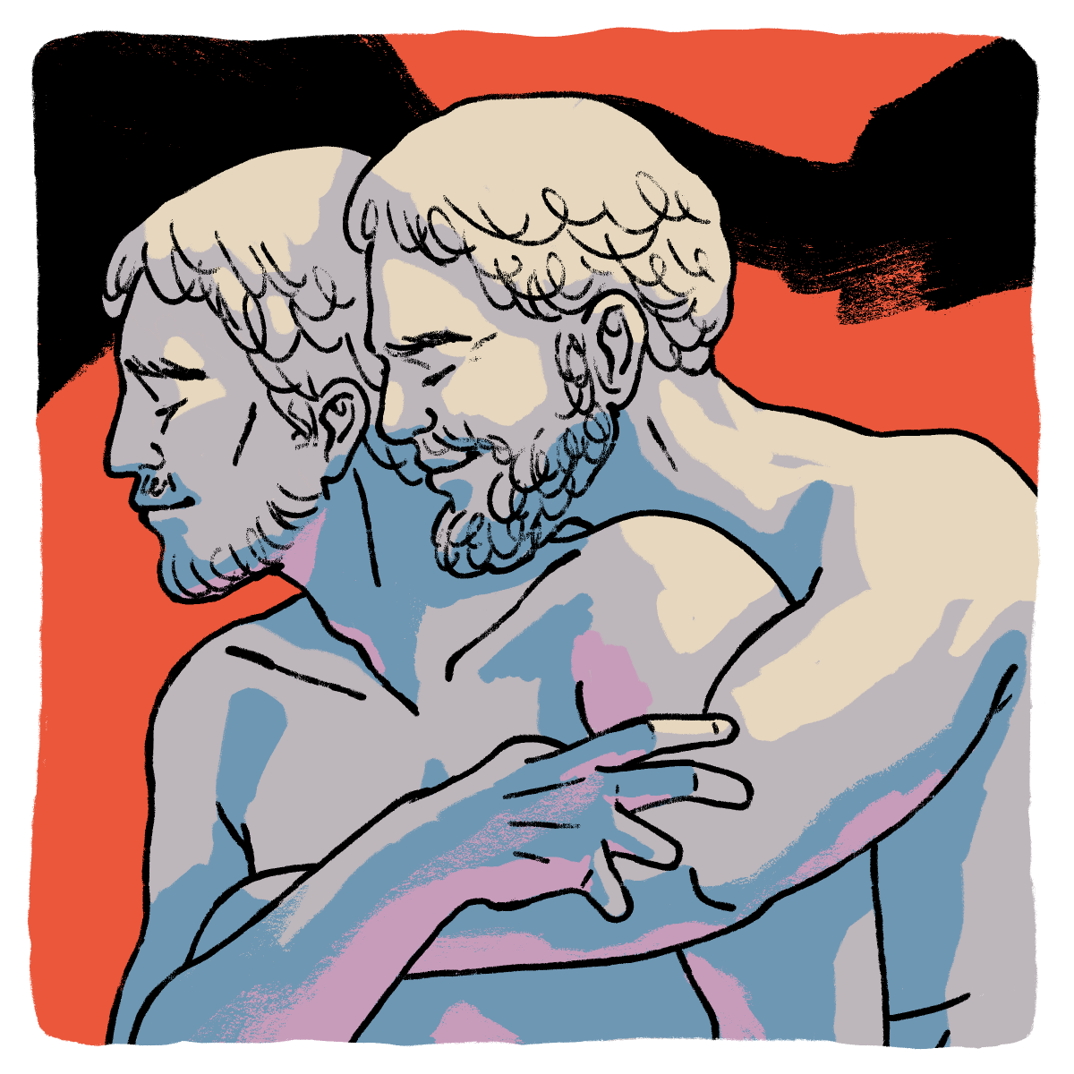Two statues of nude Greek men embracing one another