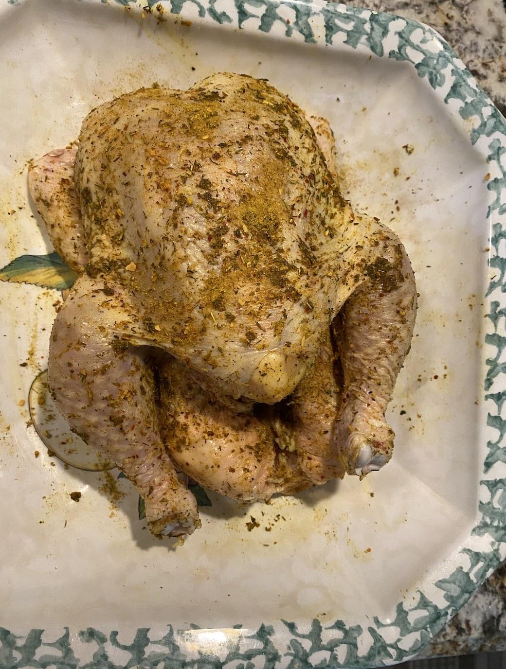 A seasoned chicken