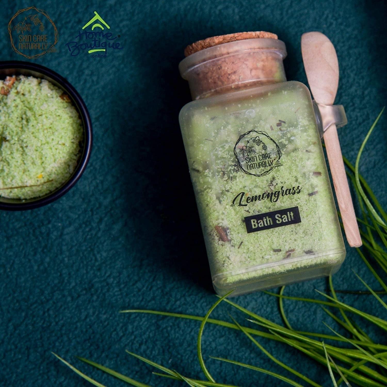 Lemongrass bath salts in a glass bottle with a cork