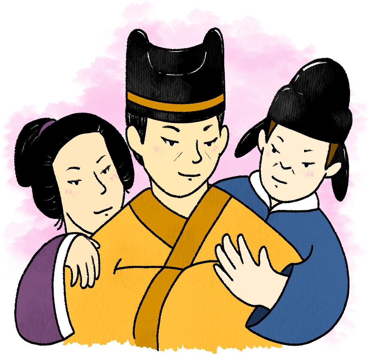 Emperor figure in the center with eunuchs draped over them