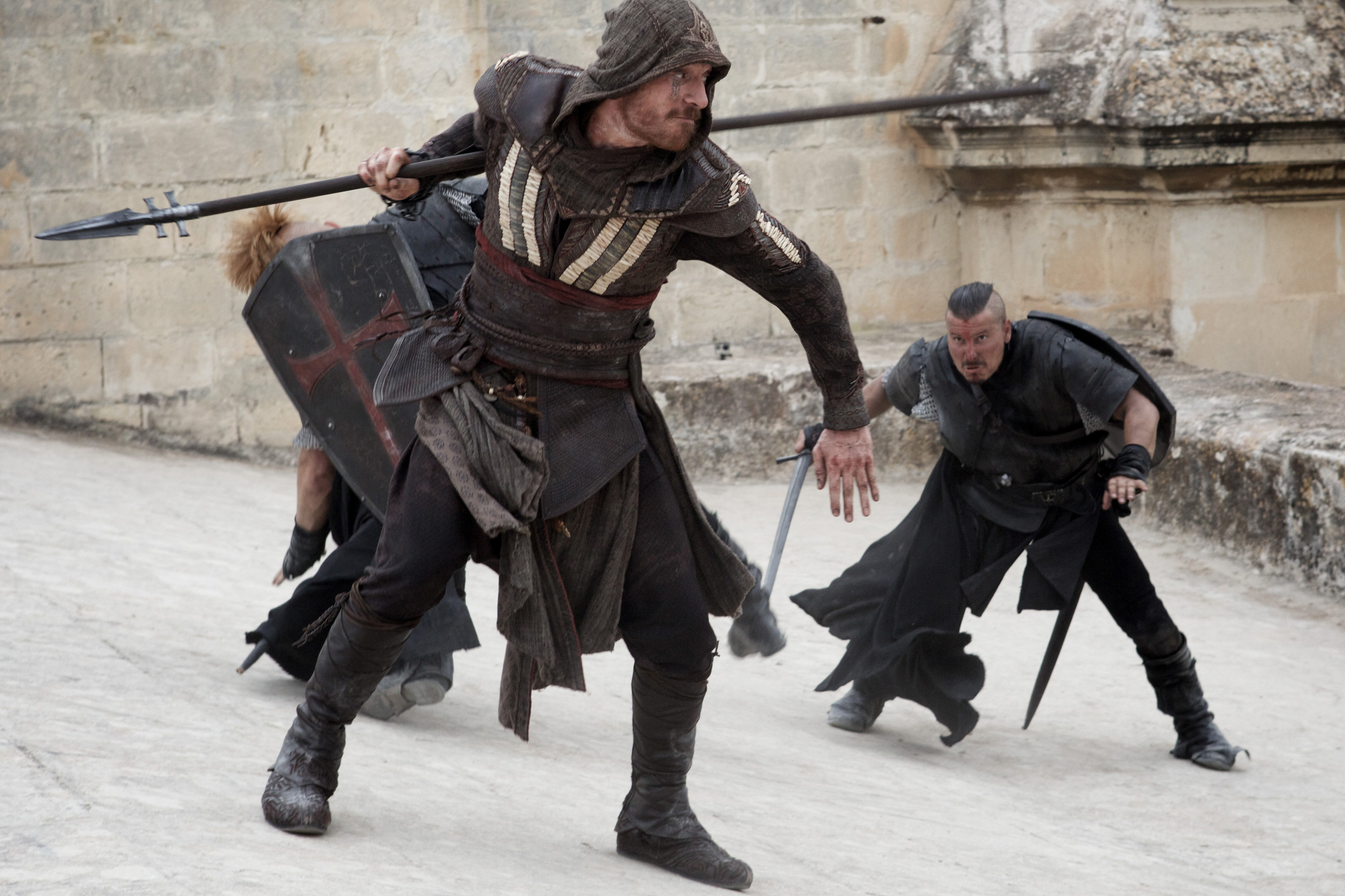 Michael Fassbender's character fighting