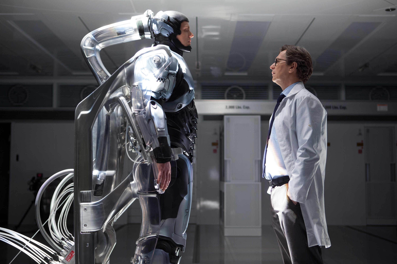 Gary Oldman's character looking at the RoboCop