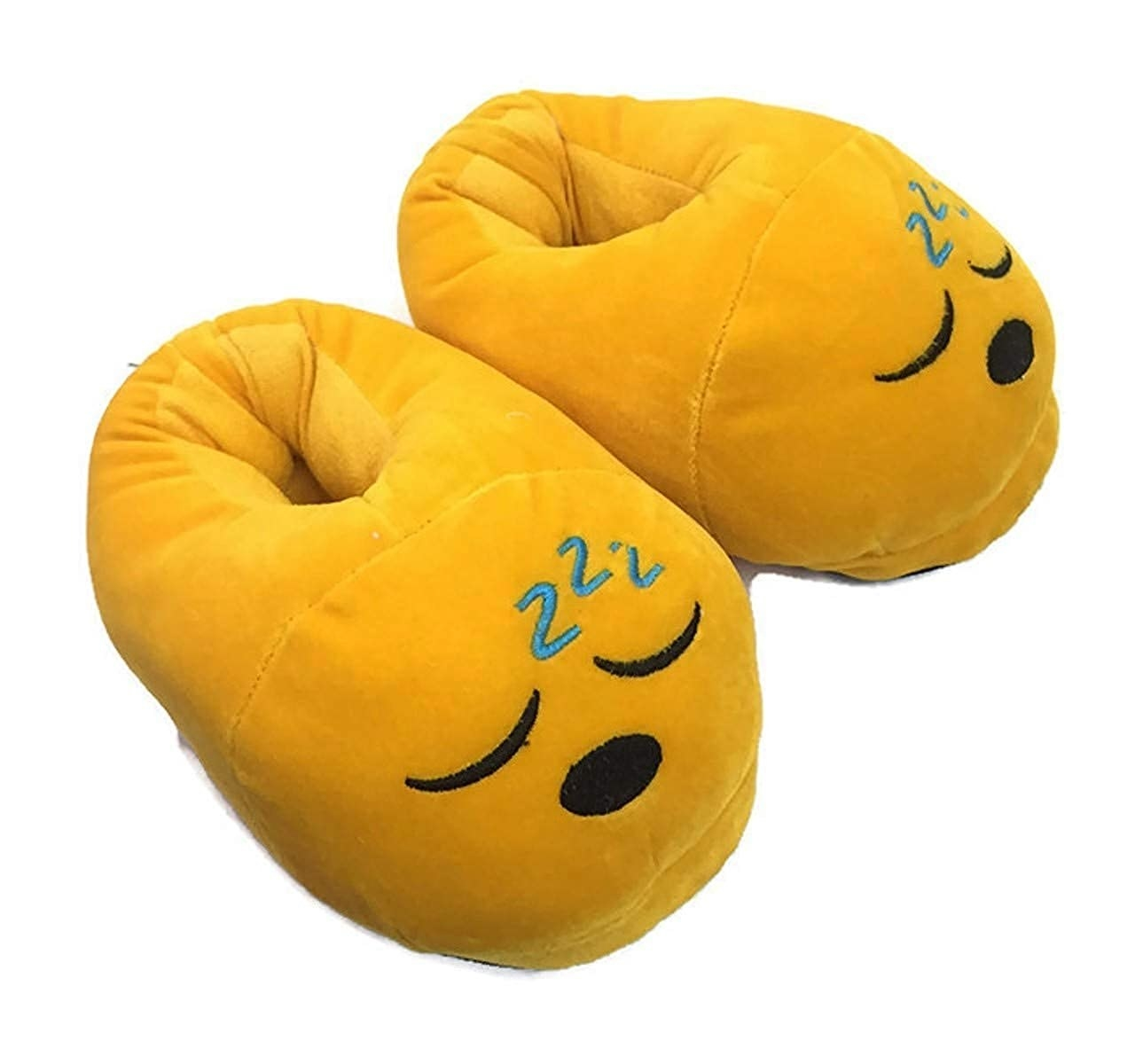 Pair of yellow plush slippers with a sleeping emoji on them