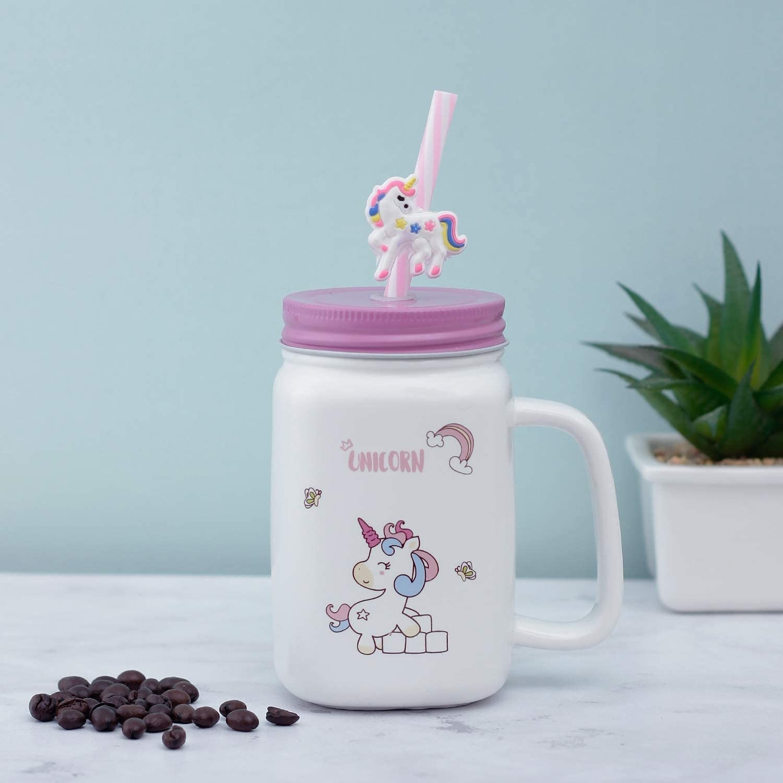 A unicorn mason jar.