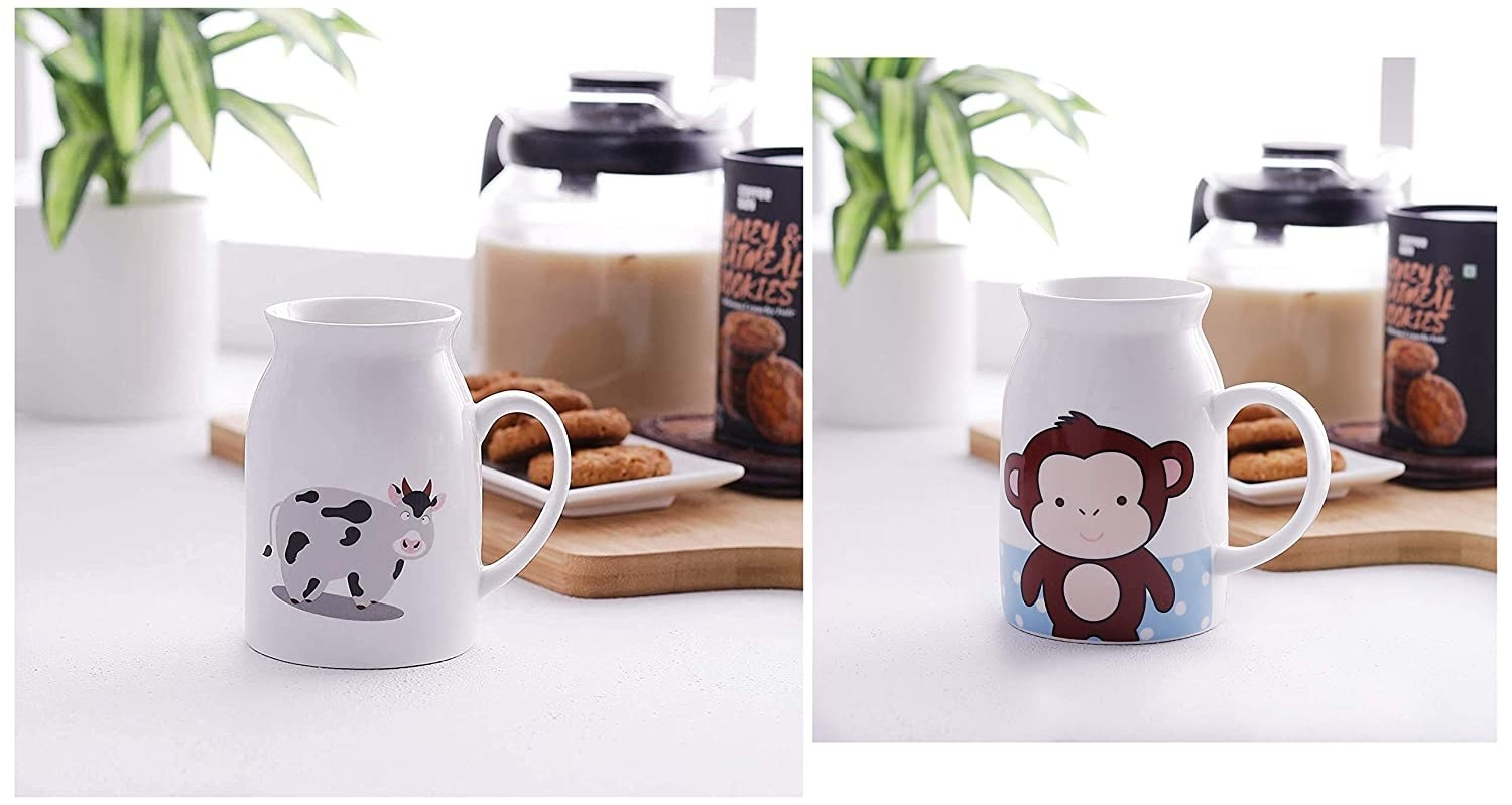 Two images of milk jug with a cow and a monkey printed on each, respectively.