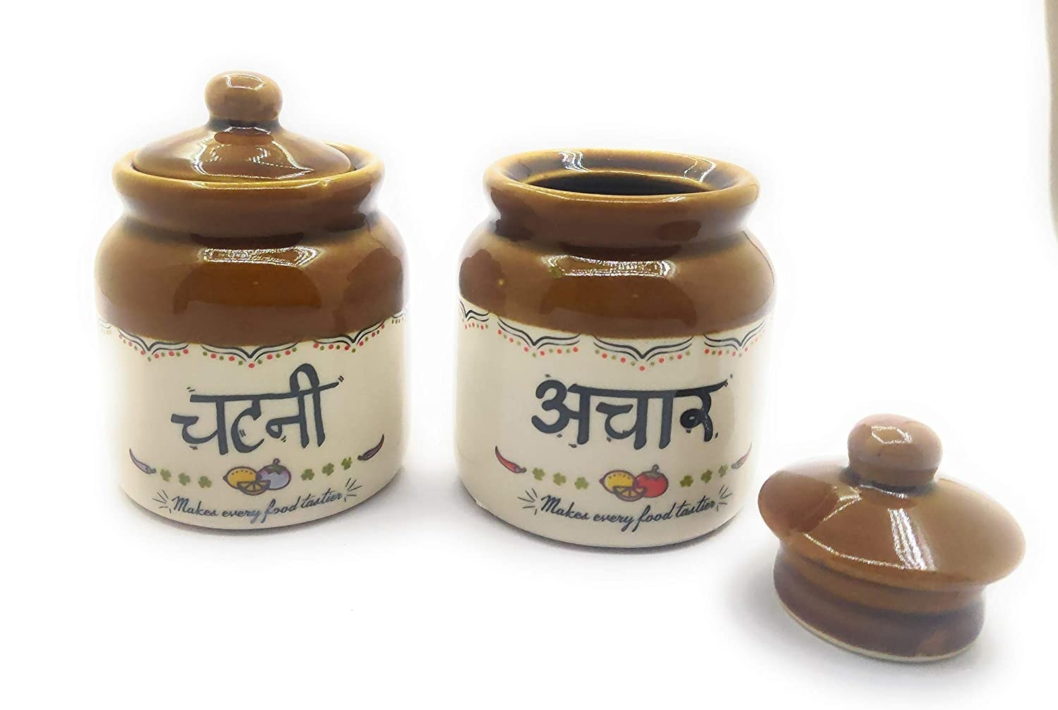 2 traditional achaar and chutney jars with 'chutney' and 'achaar' written on each in Hindi.
