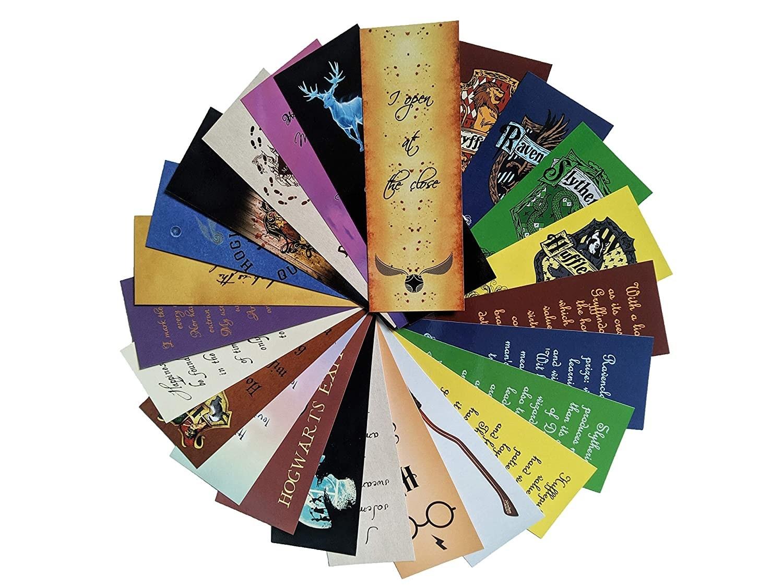 A set of 24 Harry Potter bookmarks.