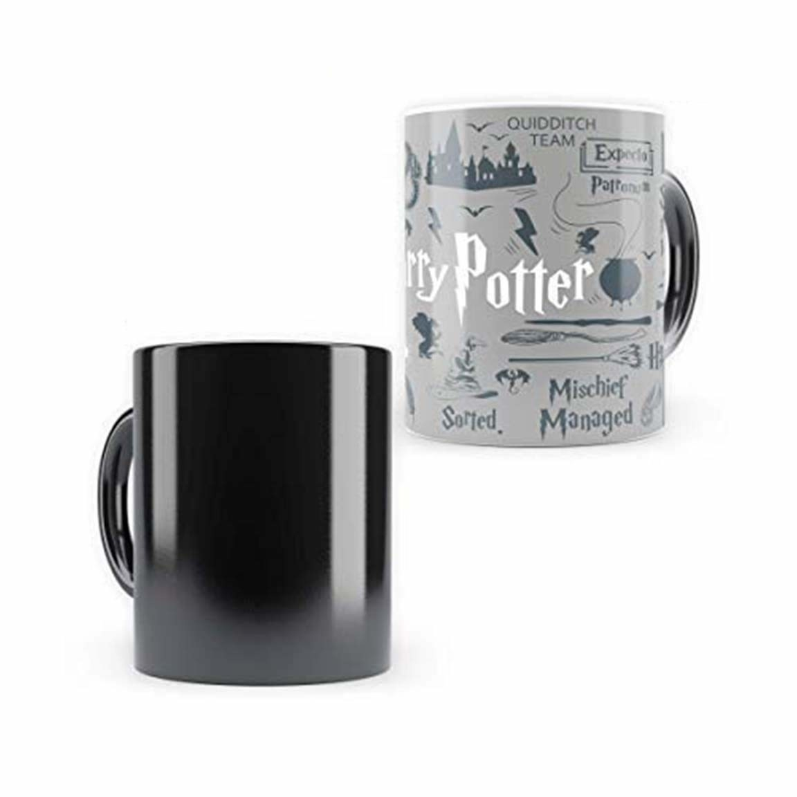 A heat sensitive magic mug showing change of colour from pitch black to the design.