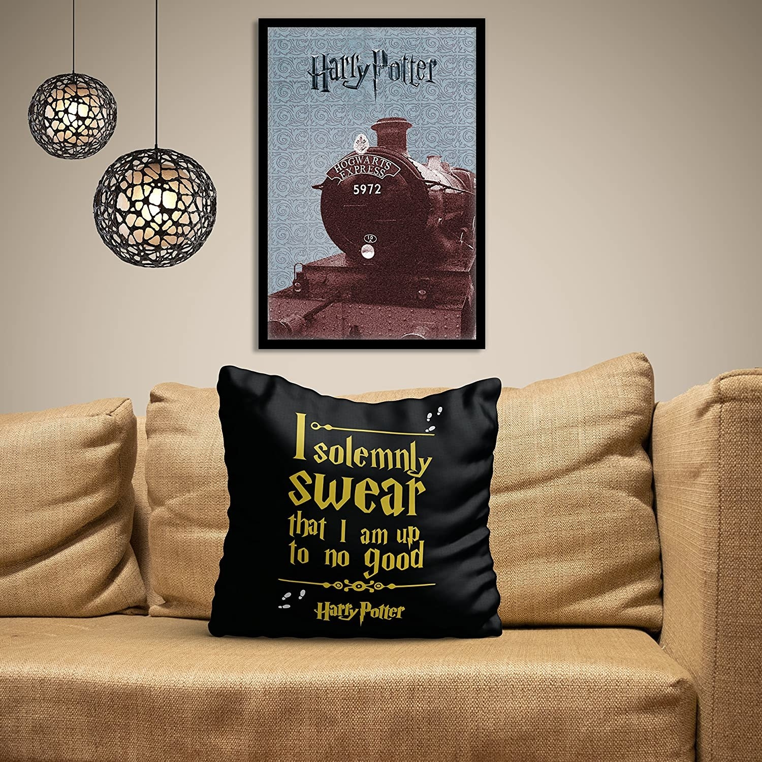 A black satin cushion cover with the quote 'I solemnly swear I am upto no good' written on it, placed on a sofa.