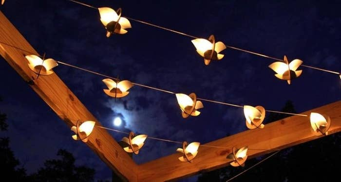 the skyboat lanterns against the night sky